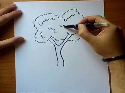 Como dibujar un arbol paso a paso | How to draw a tree