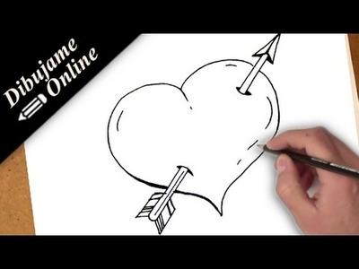 Como dibujar un corazon con una flecha | como dibujar un corazon con una flecha paso a paso