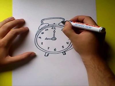 Como dibujar un despertador paso a paso | How to draw an alarm clock