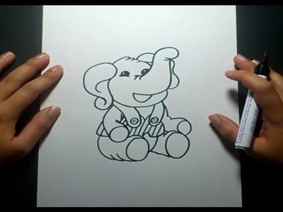 Como dibujar un elefante paso a paso 4   How to draw an elephant 4