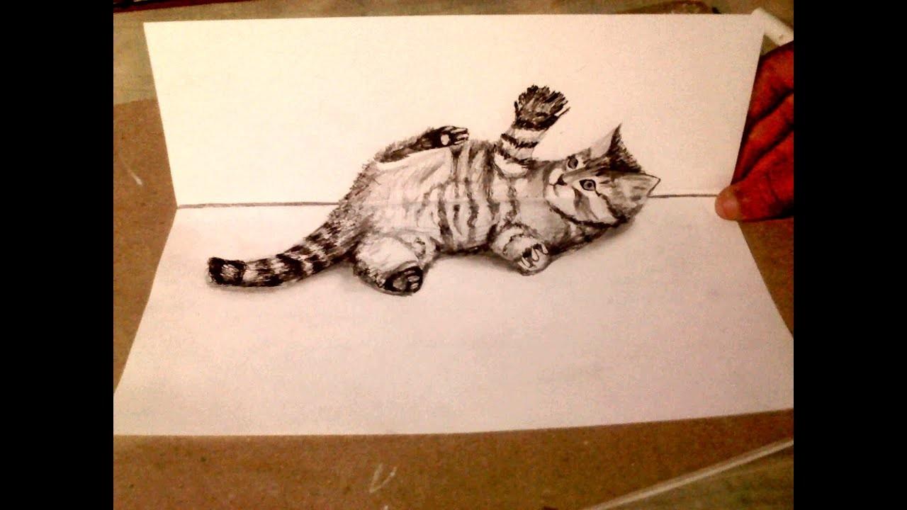 Como dibujar un gato tierno 3d sobre el papel - dibujemos tv