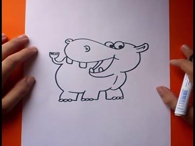 Como dibujar un hipopotamo paso a paso | How to draw a hippopotamus