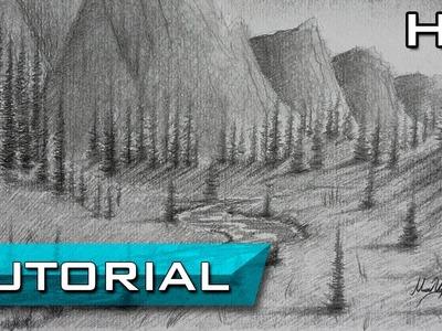 Cómo Dibujar un Paisaje a Lápiz Paso a Paso - Cómo Dibujar un Río y Montañas