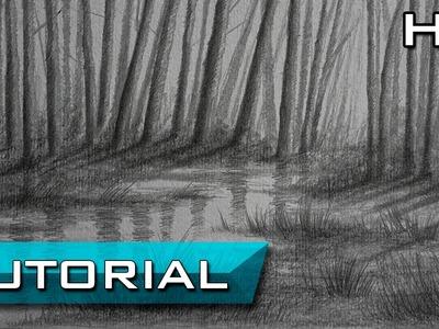 Cómo Dibujar un Paisaje De agua y árboles a lápiz Paso a Paso - TUTORIAL
