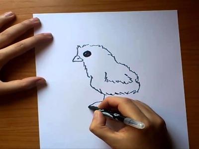 Como dibujar un pollito paso a paso   How to draw a chick