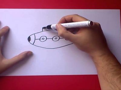 Como dibujar un submarino paso a paso   How to draw a submarine