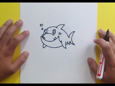 Como dibujar un tiburon paso a paso 10 | How to draw a shark 10
