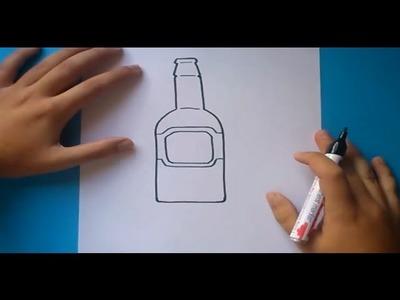 Como dibujar una botella paso a paso | How to draw a bottle
