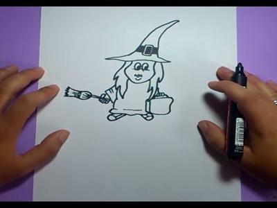 Como dibujar una bruja paso a paso 4 | How to draw a witch 4