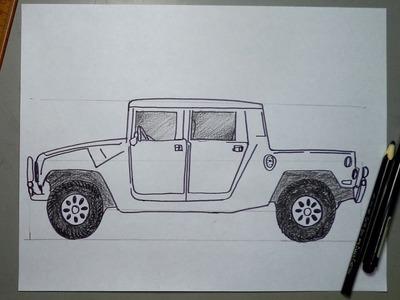 Cómo dibujar una camioneta Pickup HUMMER H1 con medidas