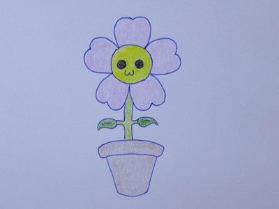 Cómo dibujar una flor kawaii