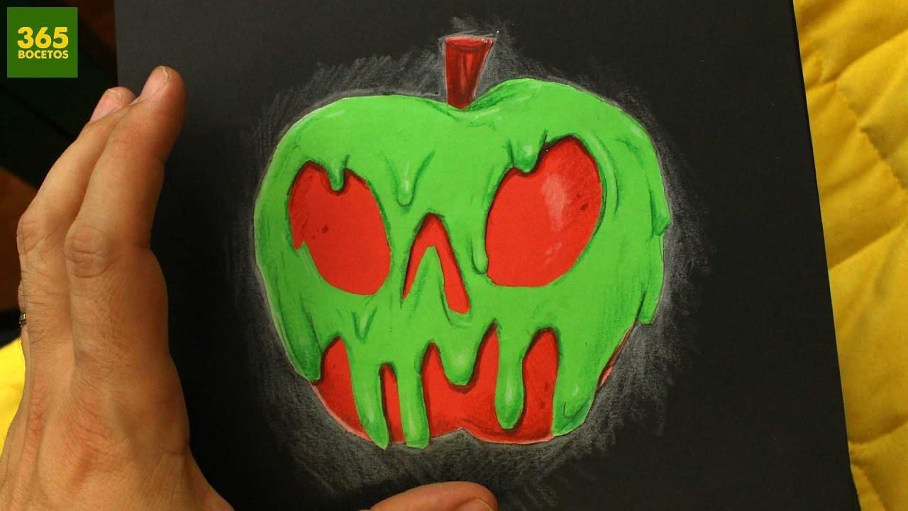 COMO DIBUJAR UNA MANZANA ENVENENADA - Como dibujar la manzana de Blancanieves