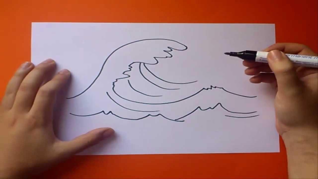 Como dibujar una ola paso a paso | How to draw a wave