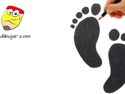 Cómo dibujar unas huellas fácil: Emojis Whatsapp paso a paso | How to draw footprints emoji