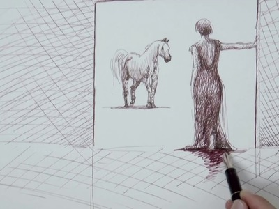 Cómo hacer bocetos: Mujer con caballo - Chica y lechuza - Usando pluma fuente