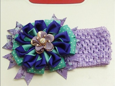 Como Hacer Flor Grande de Liston ,Hair ribbon bows and flowers