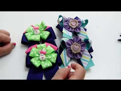 Como hacer par de lazos dobles con liston, Flowers and bows on hair ribbon
