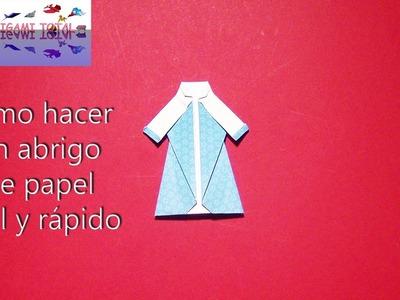 Como hacer un abrigo de papel facil y sencillo Origami prendas de vestir