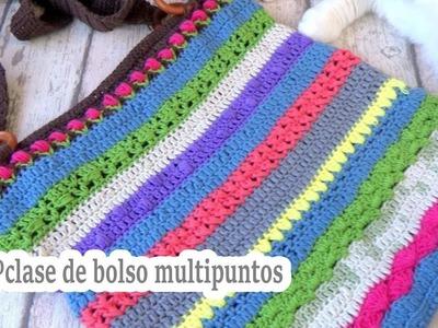 Como hacer un bolso a crochet  multipuntos    CLASE 4º   Ganchillo facil