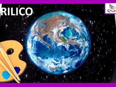 COMO PINTAR El Planeta TIERRA ???? TUTORIAL con  Pintura Acrílica   Paint the earth in Acryilic