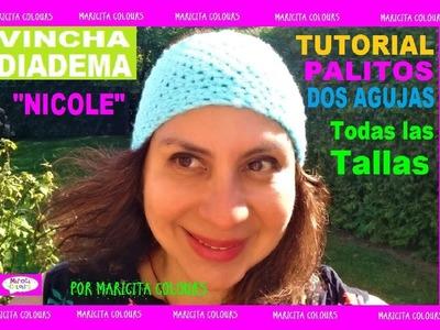 """Cómo Tejer Vincha a Palitos """"Nicole"""" por Maricita Colours"""