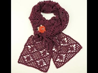 Crochet: Bufanda delgada con Piñas
