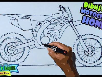 Dibuja motocicletas paso a paso 5.7 - Una motocross Honda 250
