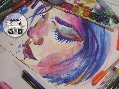 【DIBUJA un Rostro con Acuarela】  ✽PASO A PASO✽ - Isabelle Art -