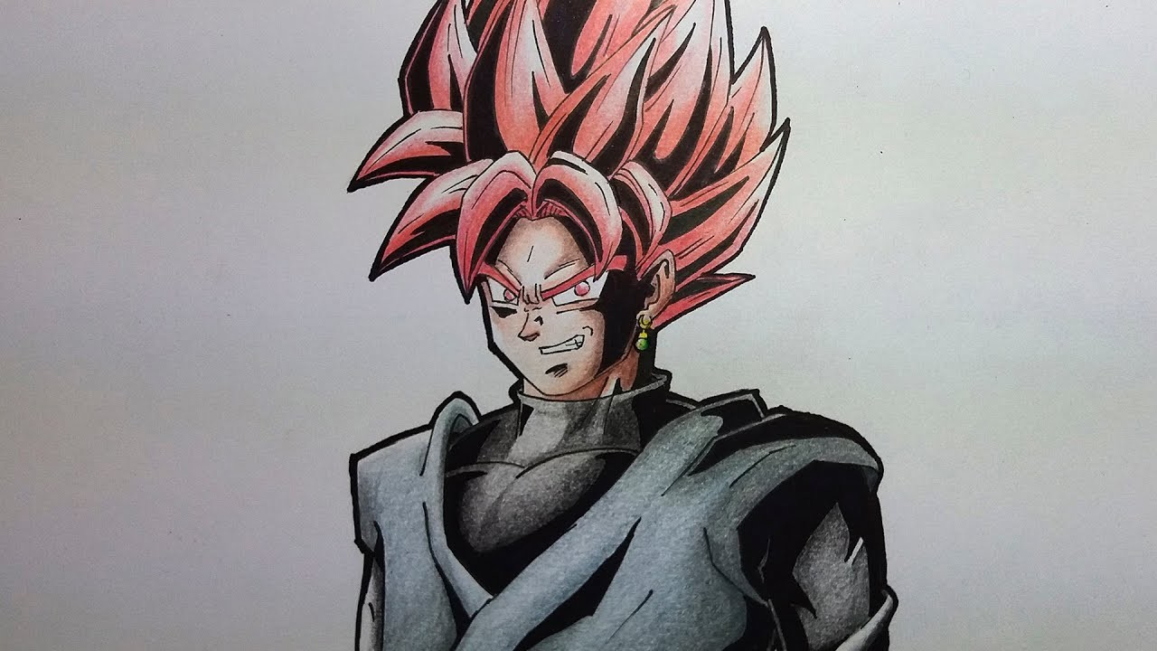 DIBUJANDO A GOKU BLACK SSJ ROSA | DRAWING BLACK GOKU SS ROSE
