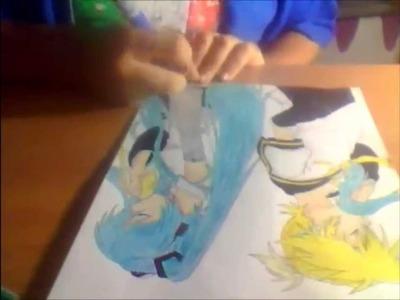 Dibujando a Miku Hatsune y Len Kagamine