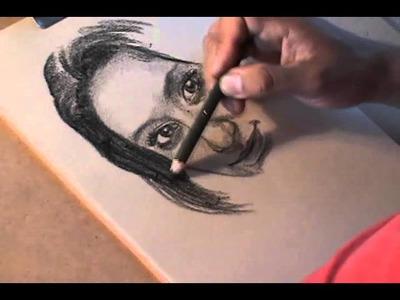 Dibujando retrato con Lápiz de CARBÓN