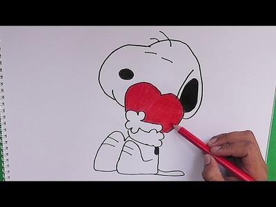 Dibujando y coloreando a Snoopy - Drawing and coloring Snoopy