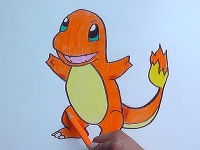 Dibujando y pintando a Charmander (Pokemon) - Drawing and painting to Charmander
