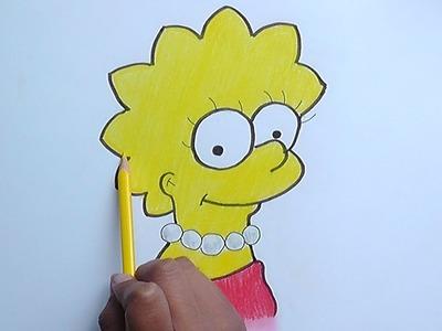 Dibujando y pintando a Lisa (Los Simpson) - Drawing and painting Lisa