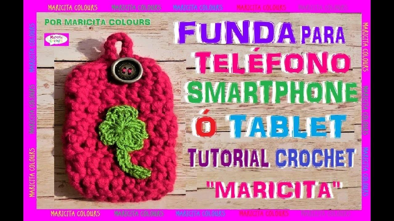 DIY. Cómo tejer una Funda Básica para Teléfono a Crochet Tablet, Smartphone por Maricita Colours