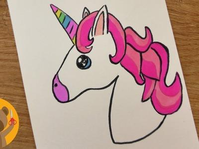 DIY dibuja tu propio KAWAII EMOJI UNICORN. dibuja un tierno unicornio de los colores del arcoíris