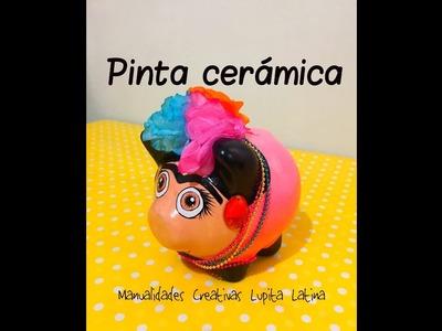 DIY pinta ceramica alcancía puerco Frida khalo paint ceramics