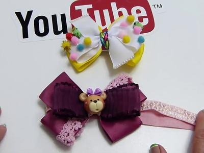 Dos lindos diseños de Moños para Bebes y Niñas,  How to make Bow Easy Ribbon