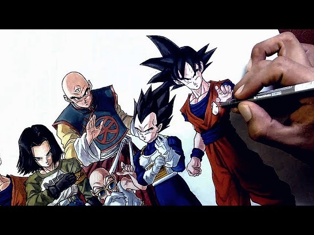 DRAGON BALL SUPER Speed Drawing | Torneo de Fuerza | Universo 7 | Dibujando a Goku y su pandilla