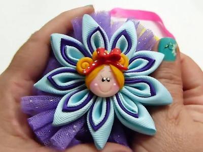 Hermosa Flor de Punta dos colores paso a paso , Moños para balacas o elásticos