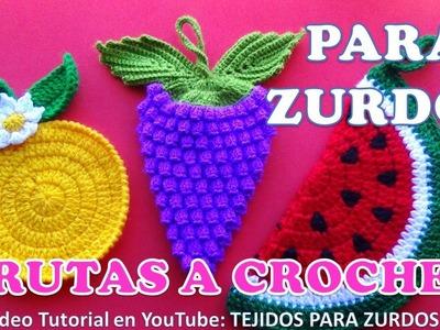 Para ZURDOS: Uvas a crochet paso a paso para AGARRADERAS DE OLLAS O ADORNOS en video tutorial