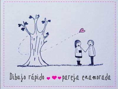 Pareja enamorada 1.Couple in love [Dibujo fácil de San Valentín para niños]