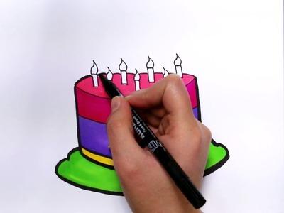 Pastel de Cumpleaños | Cómo dibujar y colorear los para niños