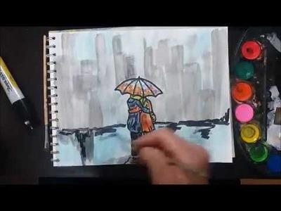 Pintando Facil y Rapido con Acuarelas y Marcador Una Pareja Bajo la Lluvia