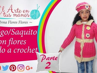 SAQUITO CON FLORES TEJIDO A CROCHET PASO A PASO FAcil de tejer