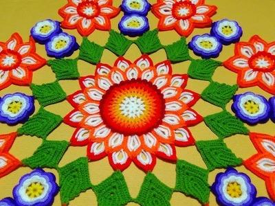 TAPETE O CARPETA A CROCHET de flores con hojas PARA ZURDOS paso a paso en VIDEO TUTORIAL
