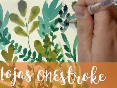 Tutorial ARTE: Hojas en acuarelas con la tecnica de una pincelada * one stroke