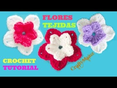 ♥TUTORIAL CROCHET | FLOR TEJIDA DOBLE PETALO PASO A PASO  | como hacer una flor a crochet