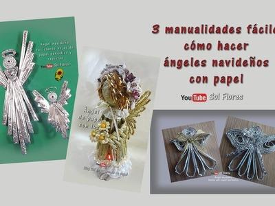 3 manualidades fáciles cómo hacer ángeles navideños con papel - how to make christmas angels