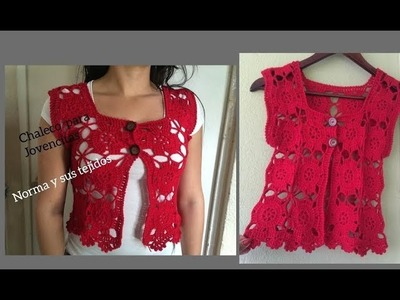 Chaleco o bolero  rojo para jovencitas a crochet